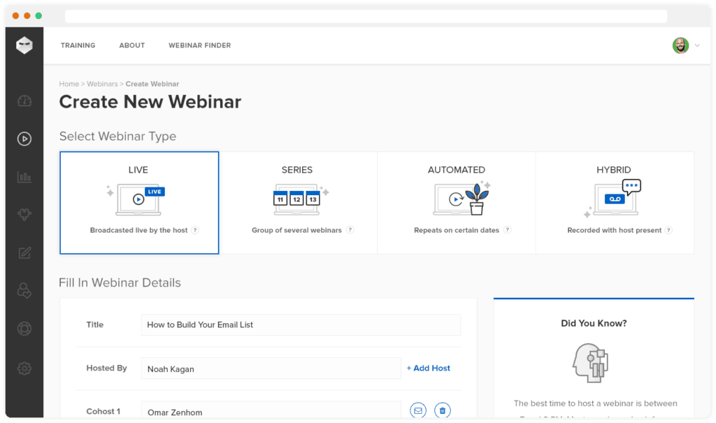 webinarninja features live